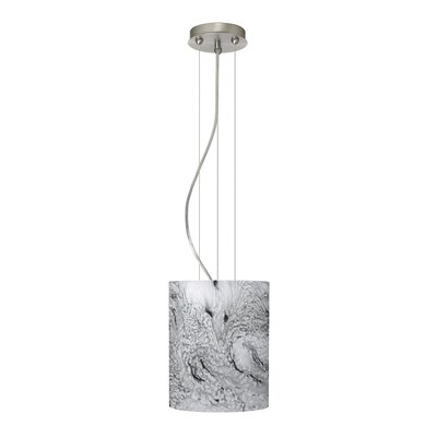 Tamburo Pendant Size / Glass Shade: 9.875 H x 7.875 W x 7.875 D / Marble Grigio, Finish: Satin Nickel