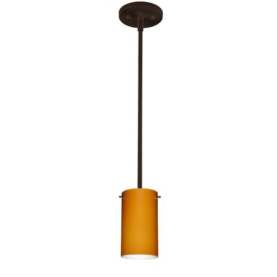 Stilo 1-Light Mini Pendant Bulb Type: Incandescent, Finish: Satin Nickel, Shade Color: Amber Matte
