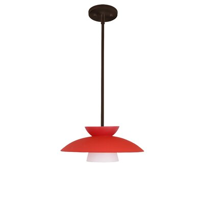 Trilo 1-Light Pendant Finish: Bronze, Glass Shade: Red Matte, Bulb Type: Incandescent