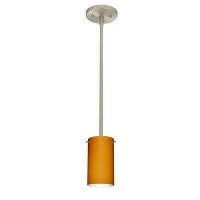 Stilo 1-Light Mini Pendant Bulb Type: LED, Finish: Satin Nickel, Shade Color: Amber Matte