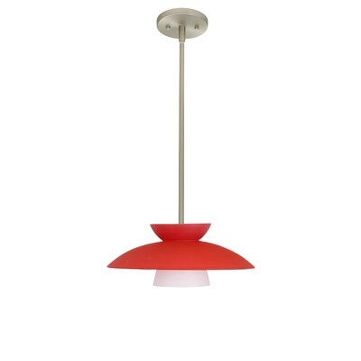 Trilo 1-Light Pendant Finish: Satin Nickel, Glass Shade: Red Matte, Bulb Type: LED