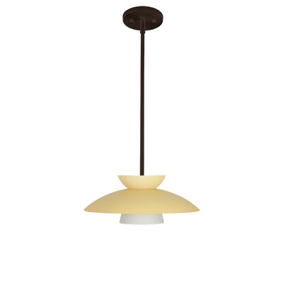 Trilo 1-Light Pendant Finish: Bronze, Glass Shade: Champagne, Bulb Type: LED