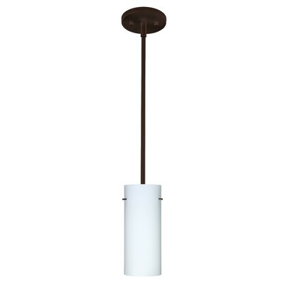 Stilo 1 Light Mini Pendant Finish: Bronze, Glass Shade: Opal Matte, Bulb Type: LED