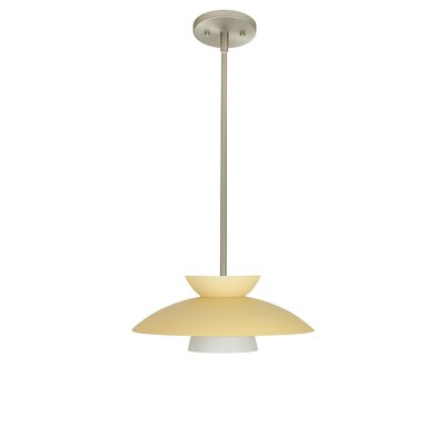 Trilo 1 Light Pendant Finish: Satin Nickel, Glass Shade: Champagne, Bulb Type: Incandescent