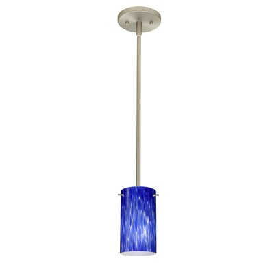 Stilo 1-Light Mini Pendant Finish: Satin Nickel, Shade Color: Blue Cloud, Bulb Type: LED