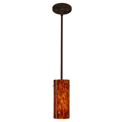 Stilo 1-Light Mini Pendant Finish: Bronze, Glass Shade: Amber Cloud, Bulb Type: Incandescent