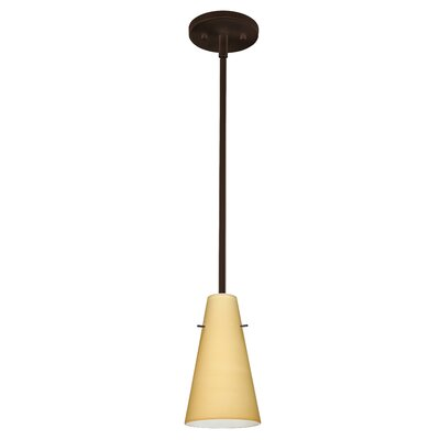 Cierro 1-Light Pendant Finish: Bronze, Glass Shade: Vanilla Matte, Bulb Type: Incandescent