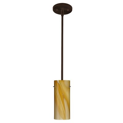 Stilo 1-Light Mini Pendant Finish: Bronze, Glass Shade: Honey, Bulb Type: Incandescent