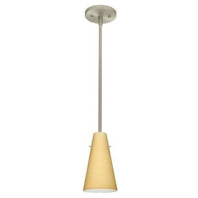 Cierro 1-Light Pendant Finish: Satin Nickel, Glass Shade: Vanilla Matte, Bulb Type: Incandescent