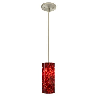 Stilo 1-Light Mini Pendant Finish: Satin Nickel, Glass Shade: Garnet, Bulb Type: Incandescent
