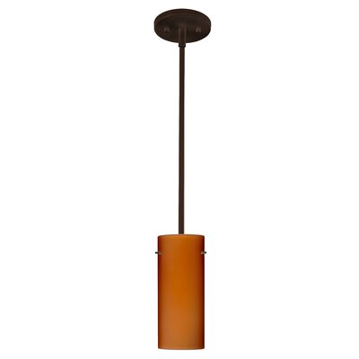 Stilo 1-Light Mini Pendant Finish: Bronze, Glass Shade: Amber Matte, Bulb Type: LED