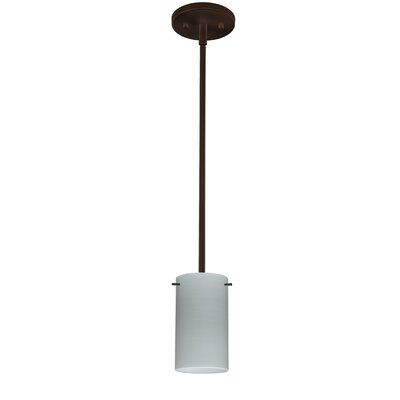Stilo 1-Light Mini Pendant Bulb Type: Incandescent, Finish: Satin Nickel, Shade Color: Cherry