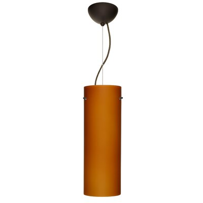 Tondo 1-Light Pendant Finish: Brushed Bronze, Shade Color: Amber Matte