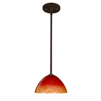 Tessa 1-Light Mini Pendant Finish: Bronze, Glass Shade: Solare, Bulb Type: LED