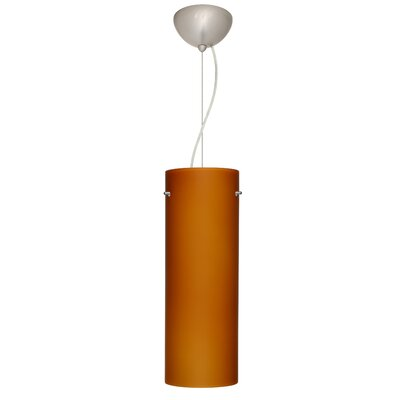 Tondo 1-Light Pendant Finish: Satin Nickel, Shade Color: Amber Matte