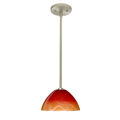 Tessa 1-Light Mini Pendant Finish: Satin Nickel, Glass Shade: Solare, Bulb Type: LED
