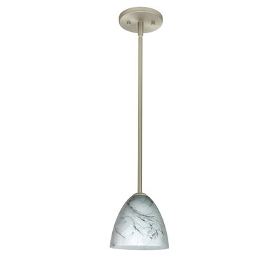 Vila 1-Light Pendant Finish: Satin Nickel, Glass Shade: Marble Grigio, Bulb Type: Incandescent