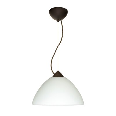 Porto 1-Light Pendant Finish: Bronze, Glass Shade: White, Bulb Type: LED