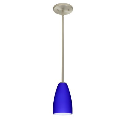 Riva 1-Light Pendant Finish: Satin Nickel, Glass Shade: Cobalt Blue Matte, Bulb Type: LED