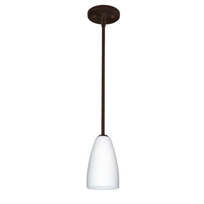 Riva 1-Light Pendant Finish: Bronze, Glass Shade: Opal Matte, Bulb Type: LED