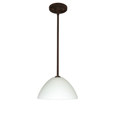 Porto 1-Light Pendant Finish: Bronze, Glass Shade: White, Bulb Type: Incandescent