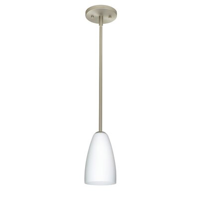 Riva 1-Light Pendant Finish: Satin Nickel, Glass Shade: Opal Matte, Bulb Type: Incandescent