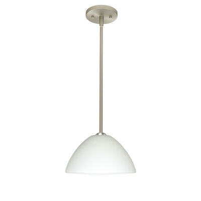 Porto 1-Light Pendant Finish: Satin Nickel, Glass Shade: White, Bulb Type: LED
