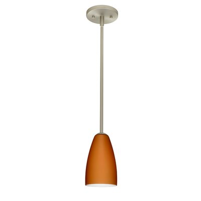 Riva 1-Light Pendant Finish: Satin Nickel, Glass Shade: Amber Matte, Bulb Type: LED