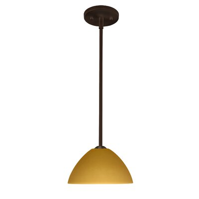 Tessa 1-Light Mini Pendant Finish: Bronze, Glass Shade: Amber Matte, Bulb Type: LED