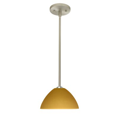 Tessa 1-Light Mini Pendant Finish: Satin Nickel, Glass Shade: Amber Matte, Bulb Type: LED