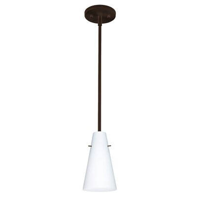 Cierro 1-Light Pendant Finish: Bronze, Glass Shade: Opal Matte, Bulb Type: LED
