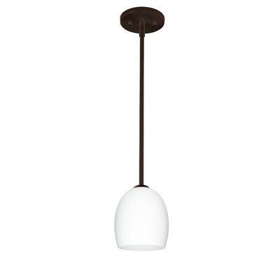 Lucia 1-Light Pendant Finish: Satin Nickel, Glass Shade: Garnet, Bulb Type: Incandescent