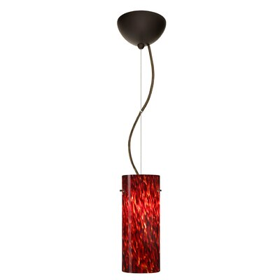 Stilo 1-Light Mini Pendant Finish: Bronze, Bulb Type: LED, Shade Color: Blue Cloud