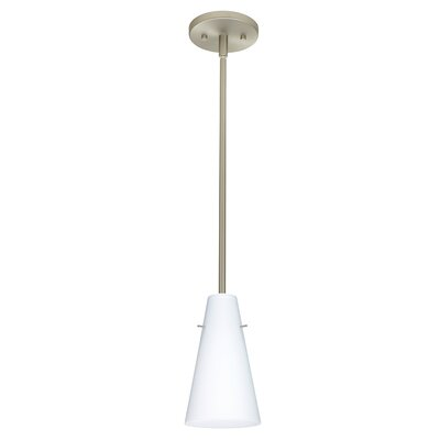 Cierro 1-Light Pendant Finish: Satin Nickel, Glass Shade: Opal Matte, Bulb Type: LED