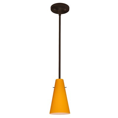 Cierro 1-Light Pendant Finish: Bronze, Glass Shade: Apricot Matte, Bulb Type: LED