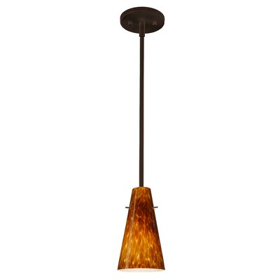 Cierro 1-Light Pendant Finish: Bronze, Glass Shade: Amber Cloud, Bulb Type: Incandescent