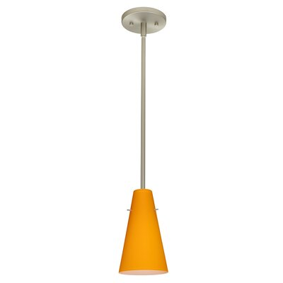 Cierro 1-Light Pendant Finish: Satin Nickel, Glass Shade: Apricot Matte, Bulb Type: LED