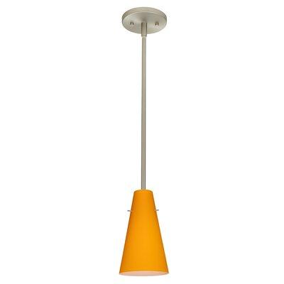 Cierro 1-Light Pendant Finish: Satin Nickel, Glass Shade: Apricot Matte, Bulb Type: Incandescent
