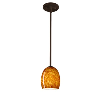 Lucia 1 Light Pendant Finish: Bronze, Glass Shade: Amber Cloud, Bulb Type: Incandescent