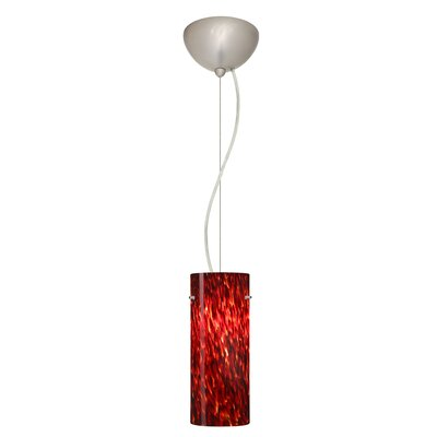 Stilo 1-Light Mini Pendant Bulb Type: Incandescent, Finish: Satin Nickel, Shade Color: Garnet
