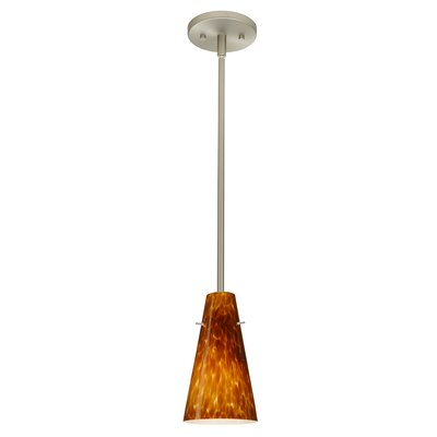 Cierro 1-Light Pendant Finish: Satin Nickel, Glass Shade: Amber Cloud, Bulb Type: LED
