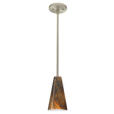 Cierro 1-Light Pendant Finish: Satin Nickel, Glass Shade: Ceylon, Bulb Type: Incandescent