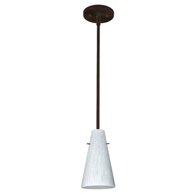 Cierro 1-Light Pendant Finish: Bronze, Glass Shade: Carrera, Bulb Type: Incandescent