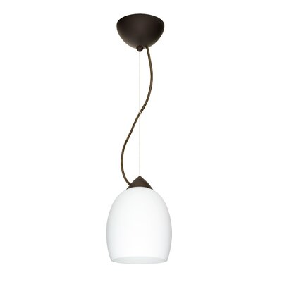 Lucia 1-Light Mini Pendant Finish: Bronze, Bulb Type: LED, Shade Color: Opal Matte