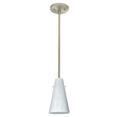 Cierro 1-Light Pendant Finish: Satin Nickel, Glass Shade: Carrera, Bulb Type: Incandescent