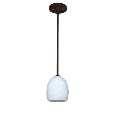 Lucia 1 Light Pendant Finish: Bronze, Glass Shade: Carrera, Bulb Type: Incandescent