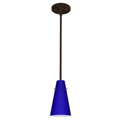 Cierro 1-Light Pendant Finish: Bronze, Glass Shade: Cobalt Blue Matte, Bulb Type: Incandescent