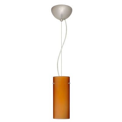 Stilo 1-Light Mini Pendant Bulb Type: LED, Finish: Satin Nickel, Shade Color: Amber Matte