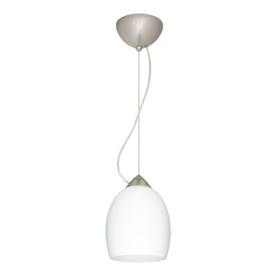 Lucia 1-Light Mini Pendant Bulb Type: Incandescent, Finish: Satin Nickel, Shade Color: Opal Matte