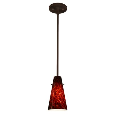 Cierro 1-Light Pendant Finish: Bronze, Glass Shade: Garnet, Bulb Type: LED
